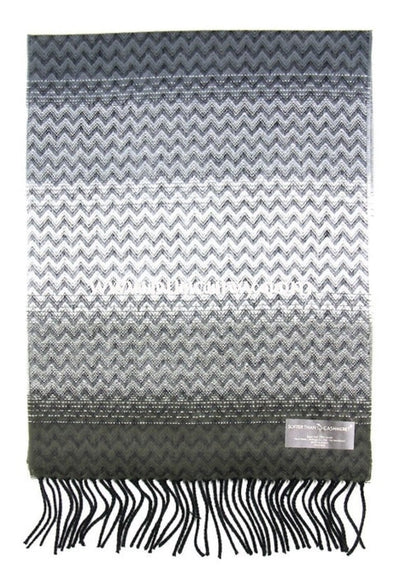 Scf-Charcoal Grey Zig-Zag Scarf With Fringe Detail Scarves