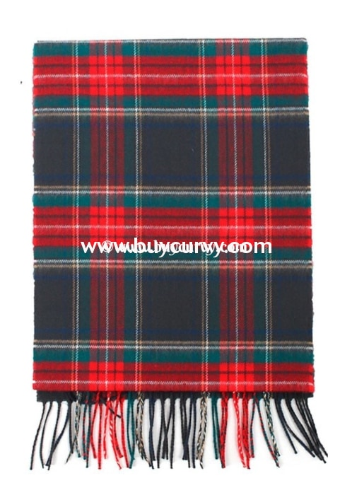 Scf- Evergeeen/red Plaid Scarf With Fringe Detail Scarves