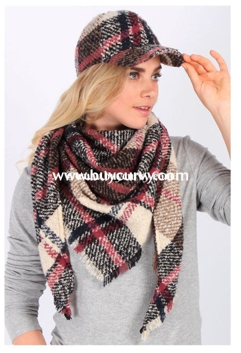 Scf- Mauve/navy Triangle Winter Scarf Scarves