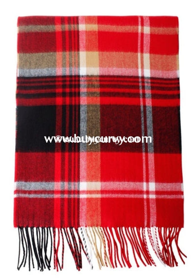 Scf- Red/black/khaki Plaid Scarf With Fringe Detail Scarves