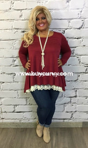 Sd-#1-G Umgee Burgundy Tunic With Ivory Lace Hem Solid With Detail