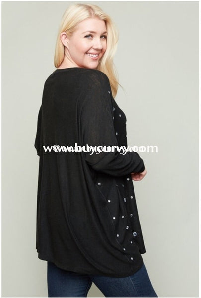 Sd-B Hayden Obsidian Rhinestone Long Sleeve Top Solid With Detail