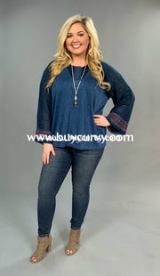 Sd-C Umgee Blue Top With Embroidery Sleeve Detail Solid With