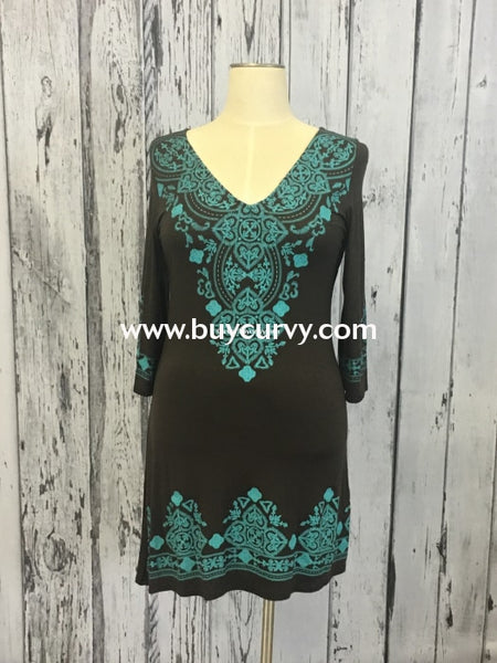 Sd-F Chocolate V-Neck Teal Embroidery Design (Runs Small) Sale!! Solid With Detail
