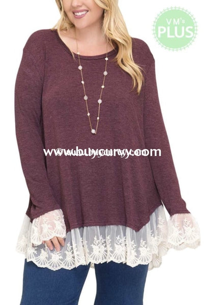 Sd-G {Happy Together} Plum Knit Tunic With Lace Detail Solid With