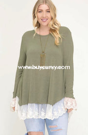Sd-H (Happy Together} Moss Green Knit Tunic With Lace Detail Sale!! Solid With