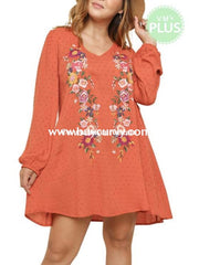 Sd-K Umgee Sunset Dress With Embroidery Floral Detail Solid With
