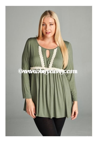Sd-M Babydoll Style Olive Keyhole With Lace Detail Sale!! Solid With