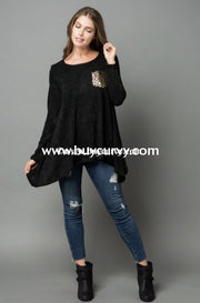 Sd-M {Happy For You} Black Knit Tunic With Sequined Pocket Solid With Detail