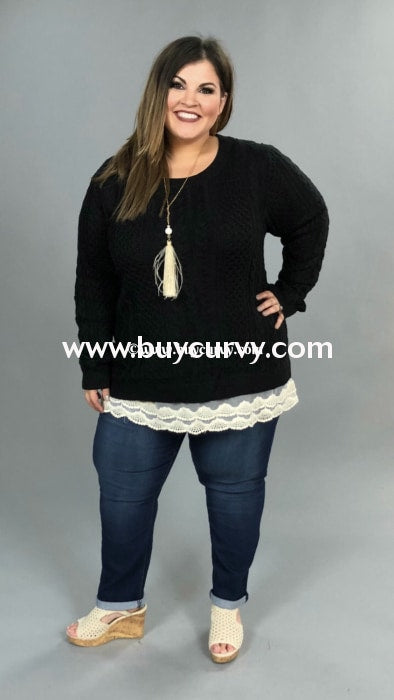 Sd-O {Limited Edition} Black Knit Sweater With Lace Hem Solid With Detail