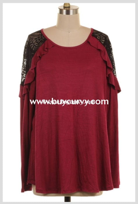 Sd-T Wine Top With Black Lace/ruffle Sleeves Solid Detail
