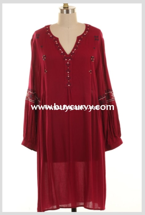 Sd-V Burgundy With Beaded & Embroidery Detail Sale! Solid With