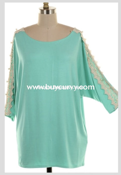 Sd-V {Spellbinding} Seagreen Top With Crochet & Pearl Detail Solid With