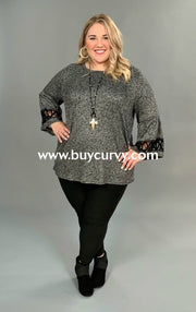 Sd-W {La-Di-Da} Gray Ribbed Glitter Knit Tunic Detailed Sleeves Solid With Detail
