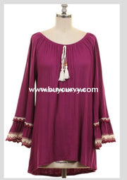 Sd-W Plum Tunic With String Tie & Crochet Lace Bell Sleeves Solid With Detail