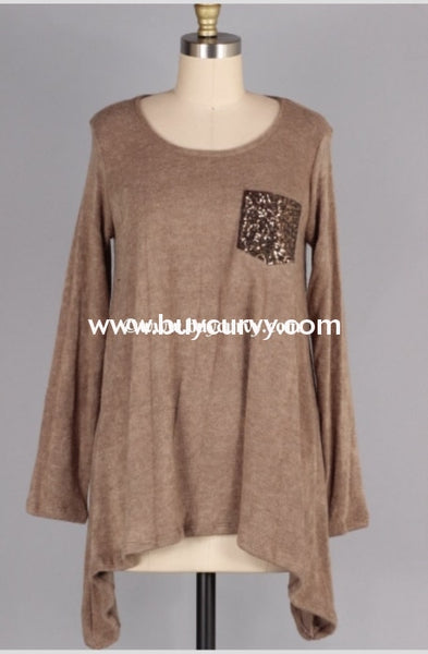 Sd-X {Youre My Muse} Taupe Knit With Sequined Pocket Sale!! Solid With Detail