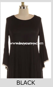 Sd-Y {Bound To Happen} Black Tunic With Crochet Detail Solid With