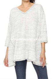 Sd-Y {Heard It Through The Grapevine} Gray V-Neck Top Solid With Detail
