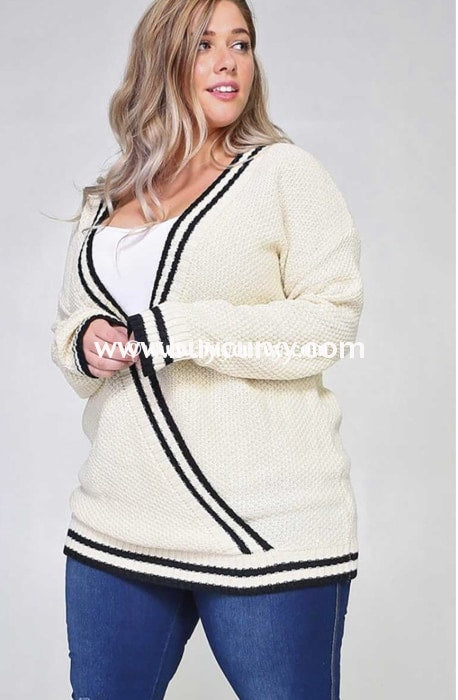 Sd-Y {Take Me Out} Cream Overlap Sweater Black Stripes Solid With Detail