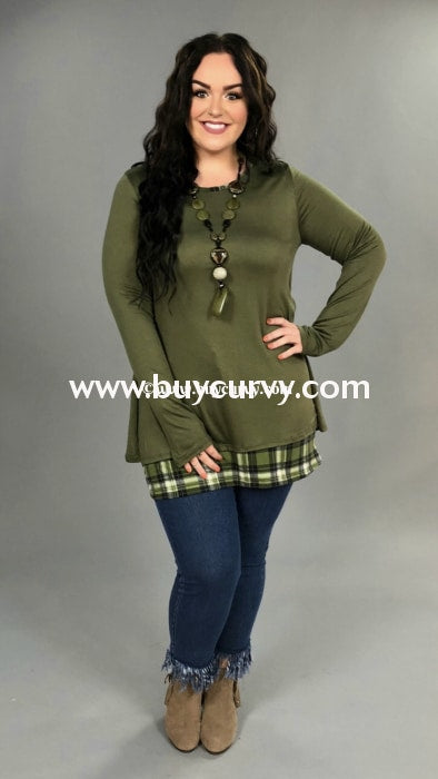 Sd-Z {Hope For Something} Olive Tunic With Plaid Detail Sale!! Solid With
