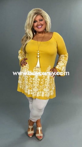 8e97b8631bedb Sd-Z Mustard With Filigree Border Print W/trumpet Sleeves Sale! Solid With
