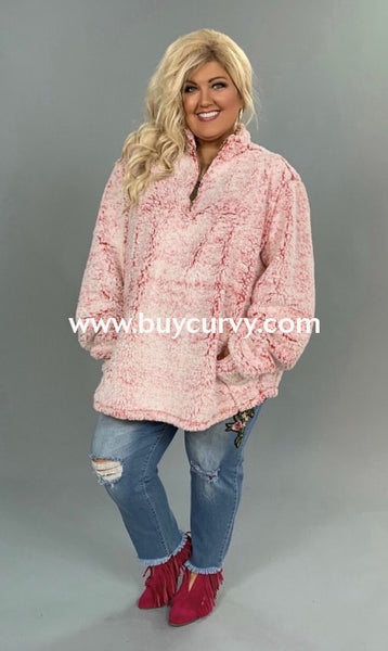 Sd-Z Pink/white Soft Cozy Sherpa Pullover {C.c. Beanie Brand!} Solid With Detail