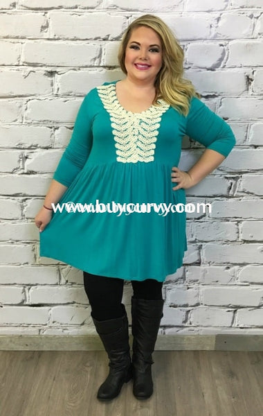 Sd-Z {Sale!!} Minx Teal With Ivory Lace Embroidery Detail Solid With