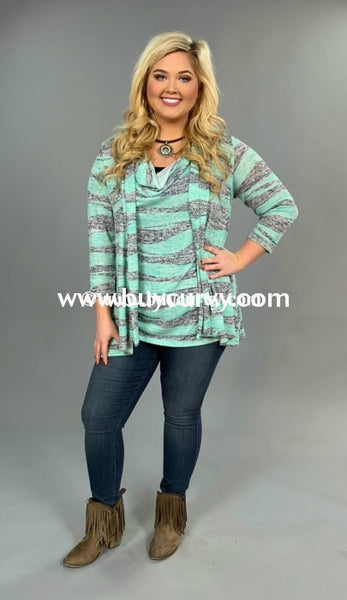 Set-B Mint/gray Knit Striped 2 Pc. Cardigan Set Set