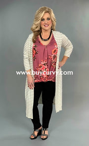 Set- {Hold It Together} Mauve Floral Top & Striped Cardigan Set