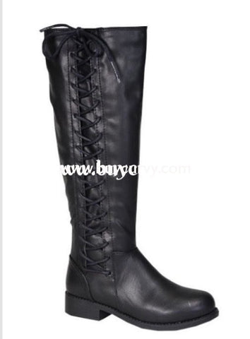 8e8b169e3d0 Shoes-Bamboo Black Knee-Boots With Lace-Up Side Detail Sale! Shoes
