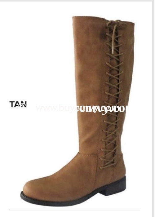 e6e64bde365 SHOES  BAMBOO  Tan Knee-Boots with Lace-Up Side Detail SALE! – Curvy ...