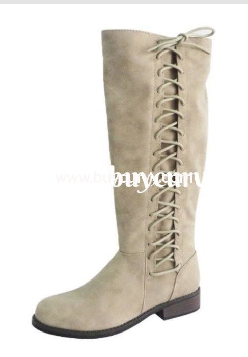 8e85f4f055e Shoes-Bamboo Taupe Knee-Boots With Lace-Up Side Detail Sale! Shoes