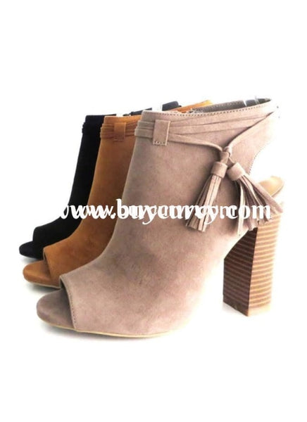 Shoes-Bamboo Taupe Peep-Toe Booties With Heel Sale! Shoes