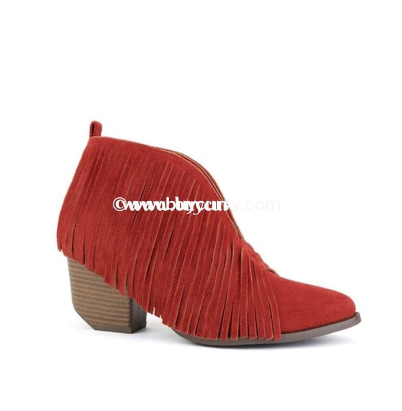 Shoes Beast Rust Fringed Booties With Block Heel Sale!! Shoes