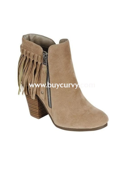 Shoes-Beige Fringed Booties With Platform Heel & Side Zipper Sale! Shoes