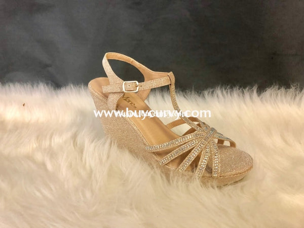 Shoes-Bella Marie Gold Wedges With Sparkles Sale! Shoes
