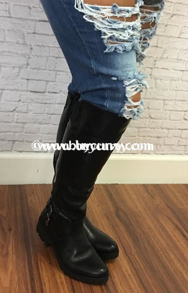 Shoes-Black Boots With Double Buckle 1 Inch Heel Shoes