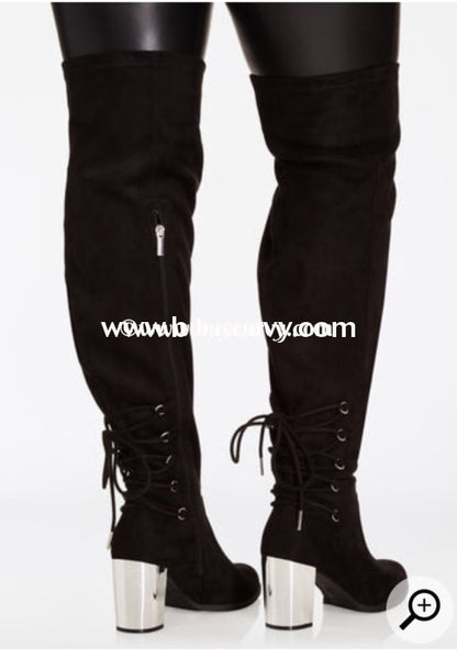 Shoes-Black Extra-Wide Calf Thigh High Boots W Chrome Shoes