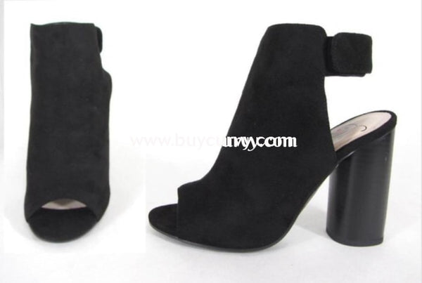 Shoes Delicious Black Booties With 4 Heel & Velcro Closure Sale! Shoes