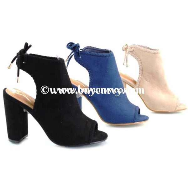 Shoes-Elegant Collection Black Peep-Toe Booties With Heel Sale! Shoes