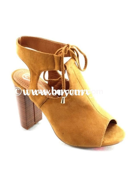 Shoes-Elegant Collection Camel Peep-Toe Booties With Heel Sale! Shoes