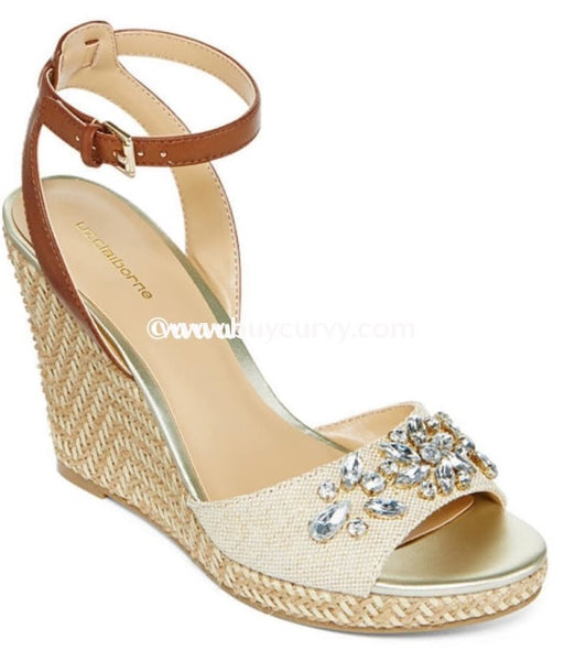 Shoes-Ff- Liz Claiborne Nude Wedges With Gold Rhinestones Sale! Shoes