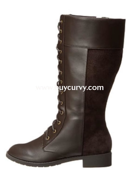 Shoes-Fitzwell Dark Brown Lace-Up Wide Calf Boots Sale! Shoes