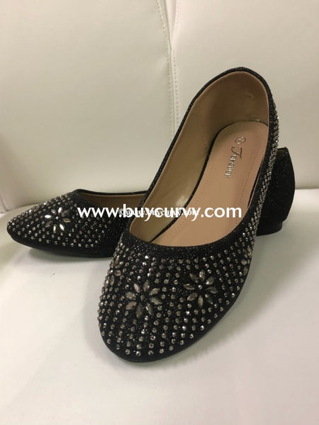 Shoes-Forever Black Flat Shoes With Rhinestones Sale