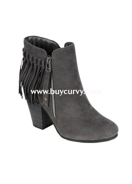 Shoes-Gray Fringed Boots With Platform Heel & Side Zipper Sale! Shoes