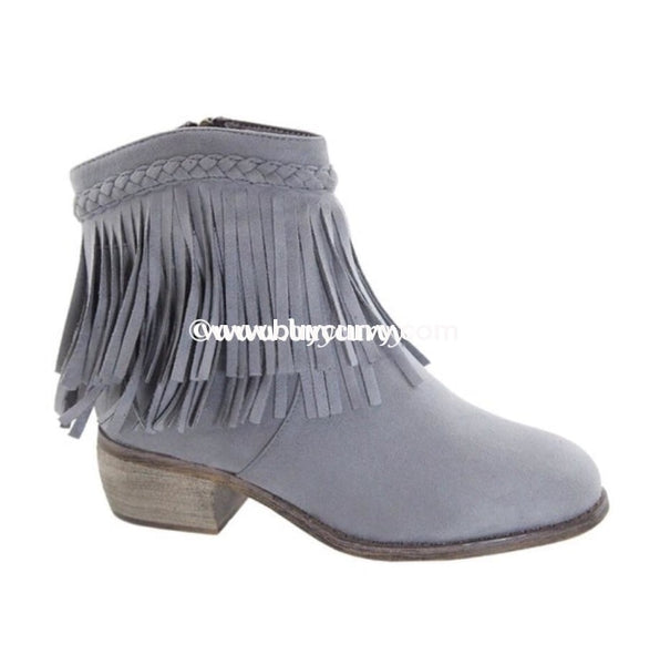Shoes- Grey Suede Booties With Zipper Detail And Fringe Sale! Shoes
