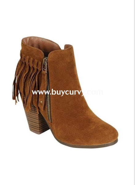Shoes {Just My Style} Tan Fringed Boots With Platform Heel & Side Zipper Sale! Shoes