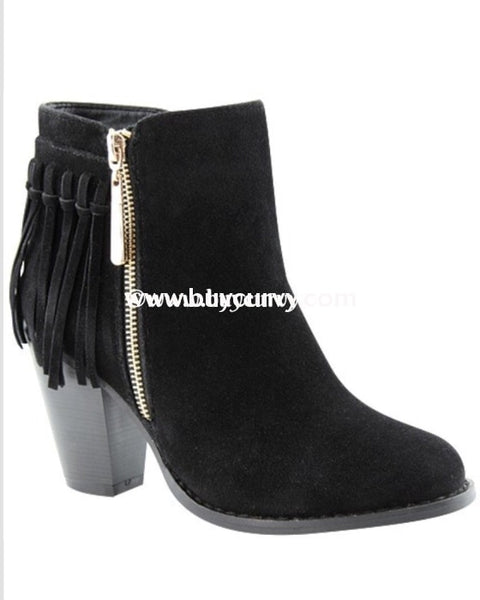Shoes Lovemark Black Suede Booties With Gold Zipper Detail And Fringe Sale! Shoes