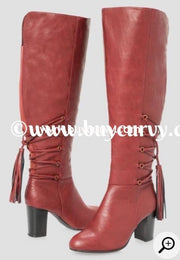 Shoes-Maroon Extra-Wide Calf Knee Boots With Tassel Detail Sale! Shoes