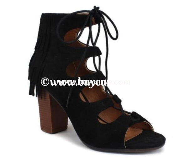 Shoes-Miim Black Suede Fringed Lace Up Heels Sale! Shoes